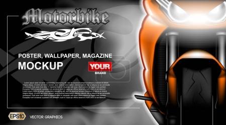Digital vector orange new modern sport motorcycle ...