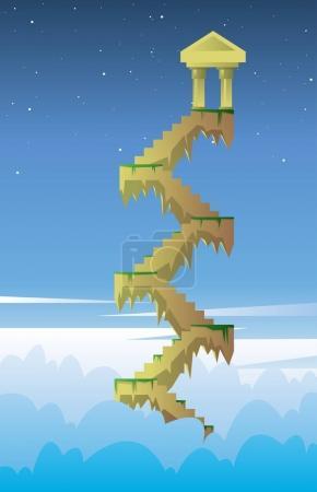 Digital vector, stairs into the dark blue sky