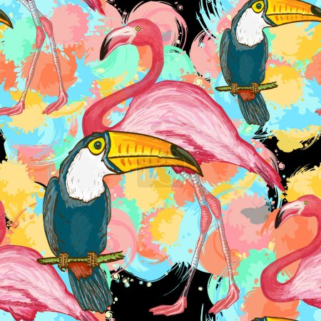 Illustration for Vector seamless tropical pattern. Toucans and flamingos exotic floral background - Royalty Free Image