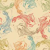 Carps seamless pattern, hand drawn carp japanese background