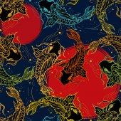 Koi carps seamless pattern, hand drawn art japanese pattern