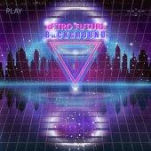 Futuristic city 80s Retro Sci-Fi Background