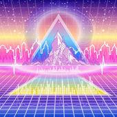 Retro futuristic background Neon Poster 80s Retro Sci-Fi