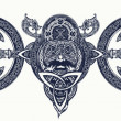 Viking tattoo, Celtic style. North warrior head t-...