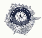 Antique compass and floral whale tattoo art Mystical symbol