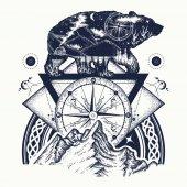 Bear double exposure mountains compass tattoo art