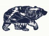 Bear double exposure tattoo art Tourism symbol adventure