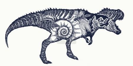 Tyrannosaur double exposure tattoo art. T-Rex dinosaur monster