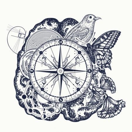 Illustration pour Tatouage du cerveau gauche et droit. Symbole de pensée, imagination, science, étude. Fonctions cérébrales gauche et droite, design analytique et créatif du t-shirt - image libre de droit