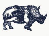 Rhinoceros tattoo art Symbol Africa savannah travel