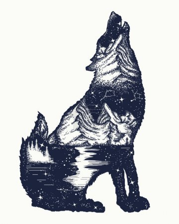 Wolf double exposure tattoo art. Symbol tourism, travel