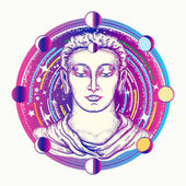 Buddha tattoo art Space god Buddha in deep space t-shirt design