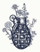 Grenade tattoo and t-shirt design On the grenade flowers