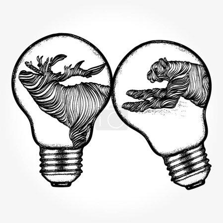 Animals tattoo and tshirt design