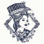 Постер, плакат: Ancient Egypt tattoo Queen of Egypt Nefertiti art nouveau
