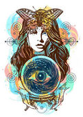 Beautiful witch woman color tattoo and t-shirt design Magic woman art Fortune teller crystal ball mystic and magic All seeing eye of future Occult symbol of the fate predictions