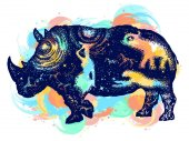 Rhinoceros color tattoo art Symbol Africa savannah travel