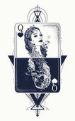 Queen playing card sacred geometry tattoo and t-shirt design