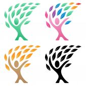 Person life tree logo vector illustration group in green rainbow autumn and black color variations