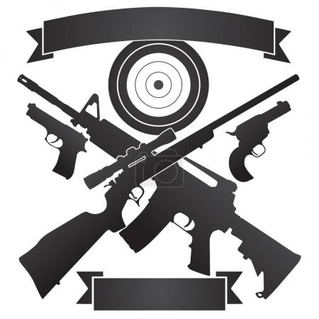 Illustration for Crossed Hunting Rifle and Semi-Automatic Rifle with Pistols and Target plus Banners Vector Illustration - Royalty Free Image