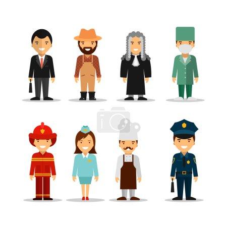 Photo pour Ensemble vectoriel de personnes différentes professions personnages. Icônes, avatars et éléments de design en style plat . - image libre de droit