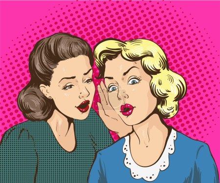 Illustration for Pop art retro comic vector illustration. Woman whispering gossip or secret to her friend. - Royalty Free Image