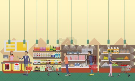 Supermarket interior vector illustration in flat style. Customers buy products in food store.