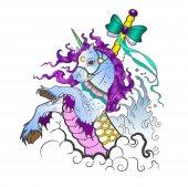 Unicorn vector illustration in cartoon style