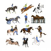 Vector set of horse riders icons flat design