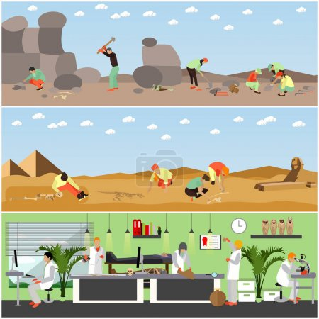 Vector set of banners with archaeological excavation and laboratory concept