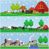Vector set of horse riding taming horses and farming concept banners posters flat style