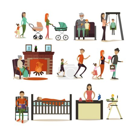 Vector set of family concept design elements, icons, flat style.