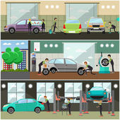 Vector set of car service auto repair concept banners posters