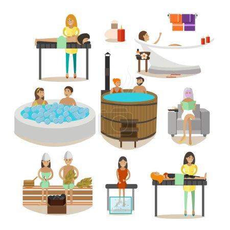 Ensemble vectoriel de personnes de salon Spa, éléments de conception de traitement de réadaptation
