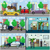 Vector set of police concept posters banners in flat style