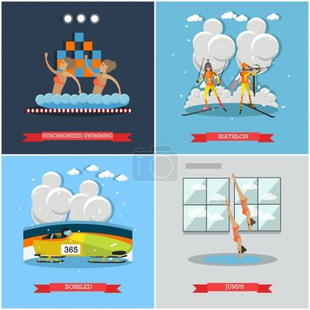 Vector set of winter and
