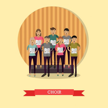 Vector illustration of singing choir in flat style