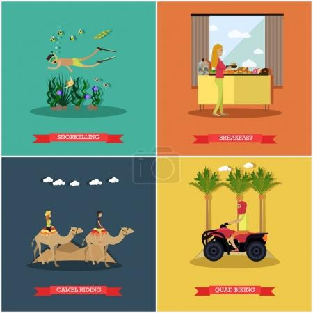 Vector set of Egypt concept posters, banners in flat style