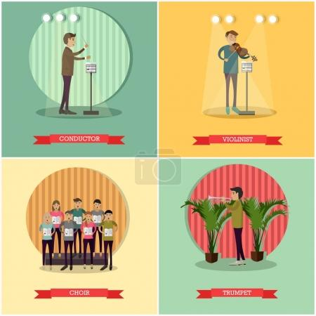 Vector set of orchestra concept posters in flat style