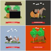 Vector set of horse riding concept posters in flat style