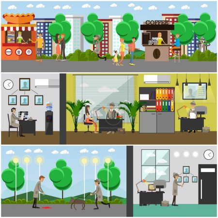 Vector set of detective posters, banners in flat style