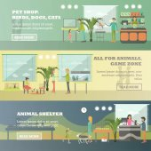 Vector set of pet store horizontal banners in flat style
