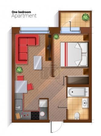 Illustration pour Illustration vectorielle d'un appartement d'une chambre avec mobilier. Plan architectural moderne détaillé de chambre à coucher, salle de bains et cuisine combinée avec salle à manger . - image libre de droit