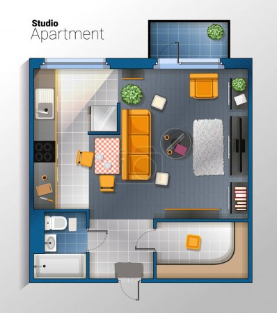 Illustration for Vector top view illustration of modern and comfortable studio apartment with furniture. Detailed architectural color plan. - Royalty Free Image