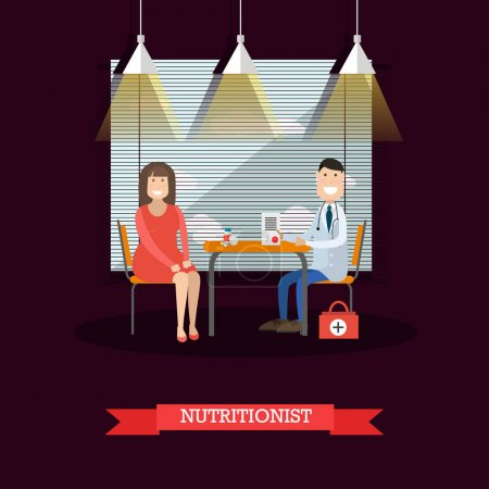 Nutritionist and patient vector illustration in flat style