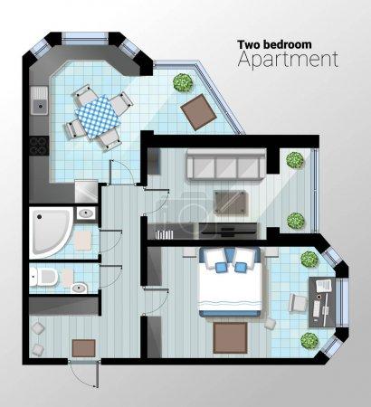 Illustration pour Illustration vectorielle d'un appartement moderne d'une chambre. Plan architectural détaillé de la salle à manger combiné avec cuisine, salle de bains, chambre. Intérieur intérieur avec des meubles confortables . - image libre de droit
