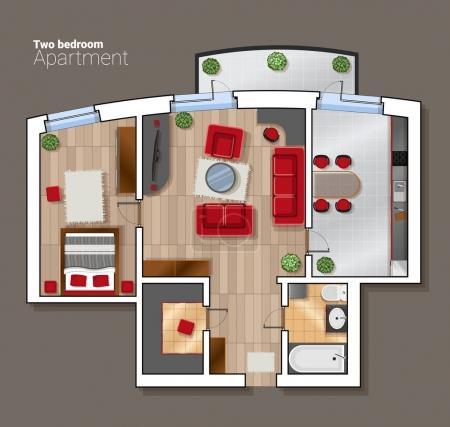 Illustration pour Plan d'étage vectoriel de la pièce de la maison. Salle à manger moderne, chambre et salle de bain intérieure avec mobilier . - image libre de droit