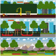 Vector set of street workout interior concept post...