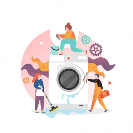 Illustration for Professional handyman plumber fixing washer, vector illustration. Washing machine repair and maintenance service concept for web banner, website page etc. - Royalty Free Image