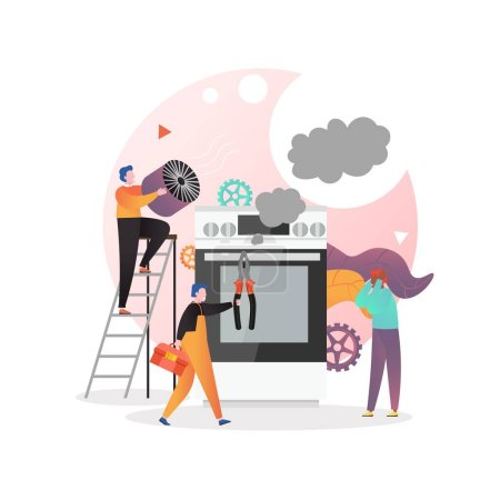 Illustration for Professional handyman repairman electrician fixing broken oven in kitchen, vector illustration. Home appliances repair and service concept for web banner, website page etc. - Royalty Free Image
